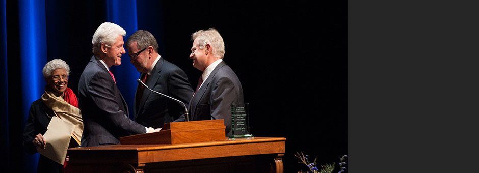 President Clinton accepts Dean's Award for Public Leadership